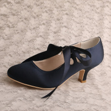 Navy Blue Prom Shoes Kitten Heel
