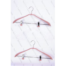 Anti-slip Matt Finish Metal Hangers with Two Clips