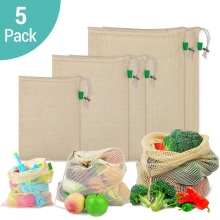 5Pcs/lot Eco Friendly Cotton Mesh Fruit Vegetable Bags Reusable Produce Bag Machine Washable Drawstring Grocery Shopping Bag