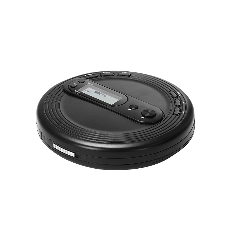 Music Multifunctional Home Office English Learning Portable CD Player Stereo Earbuds Round Black FM Radio Anti Skip Protection