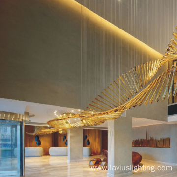 Professional custom charming lobby glass chandelier lamp