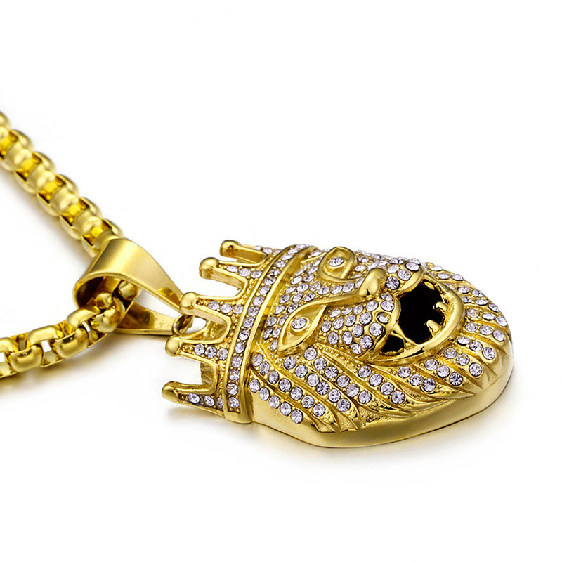 Gold Plated Iced Out Lion King Pendant Necklace