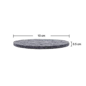 Black felt fabric round drink coaster