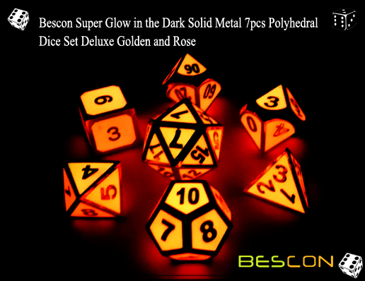 Bescon Super Glow in the Dark Solid Metal 7pcs Polyhedral Dice Set Deluxe Golden and Rose-2