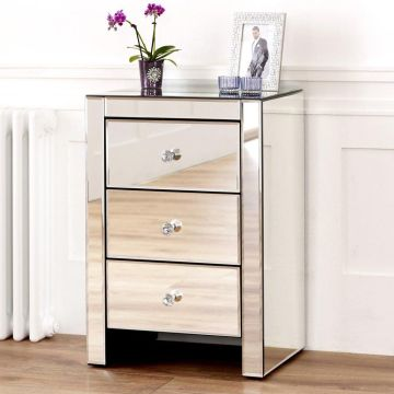 Venetian Mirrored 3 Drawer Bedside Table