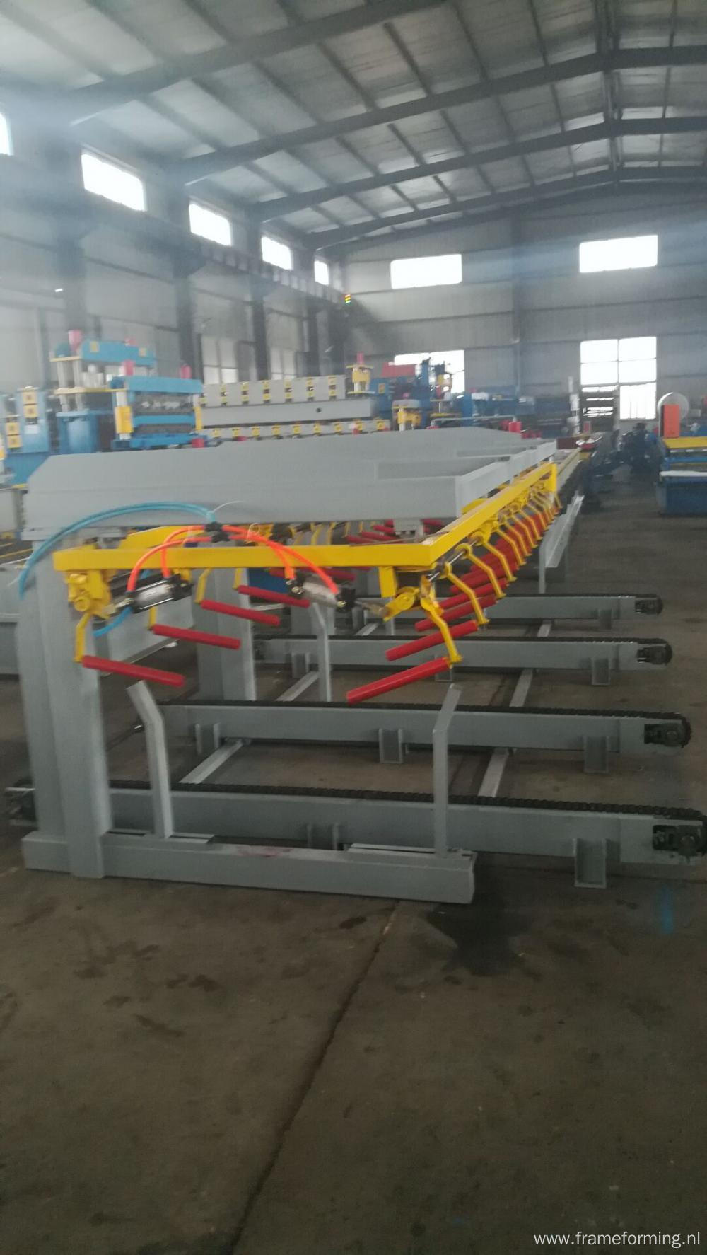 Automatic roof sheet stacker