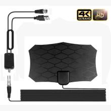 Kebidumei Flat Indoor HD Signal Digital TV Antenna with Amplifier HDTV VHF UHF black tv antenna 80 Mile Range for digital tv