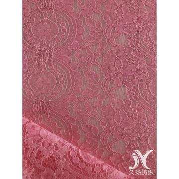 Pink Corded Lace Fabric