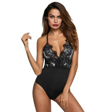 Deep V-neck eyelash lace bodysuit lingerie