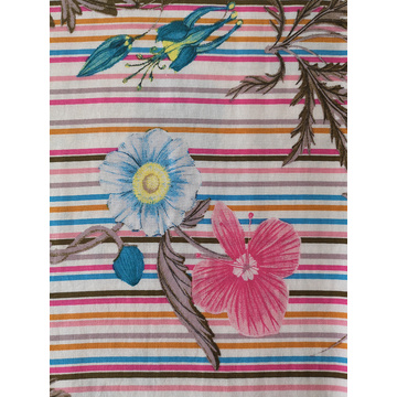 Stripe Flower Rayon Challis 30S Printing Woven Fabric