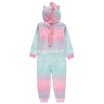 Bordado de unicórnio do arco-íris fleece onesie