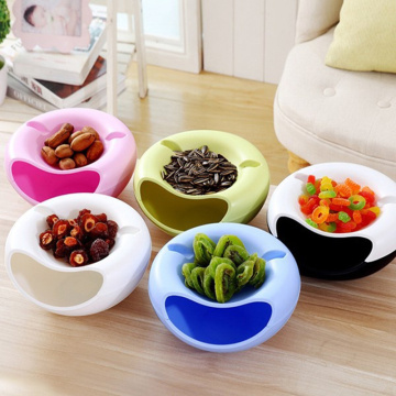 Double Layer Storage Box Plastic Bowl Dish Layer Fruit Snack Seeds Containers Phone Holder Dry Candy Storage Box Organizer TXTB1