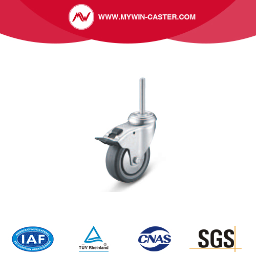 Braked Threaded Stem Swivel TPE Institutional Caster