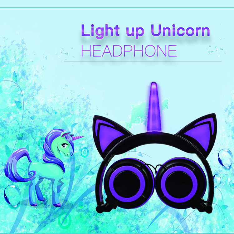 Factory LED Flashing Unicorn Cat Ears Headphones Kids