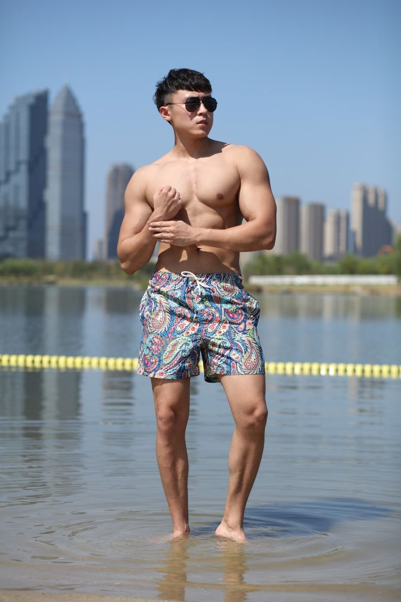 120GSM Microfiber Polyester Coating Digital Print Brief Mesh Lining for Swim Quick Dry Water-Repellent Man's Swimming Short