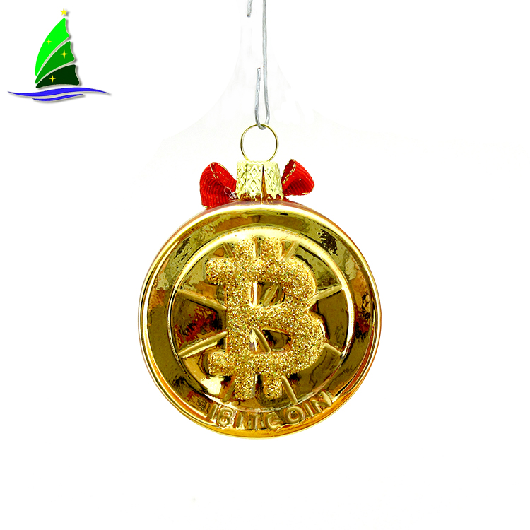 Hanging Glass Bitcoin Style Ornaments