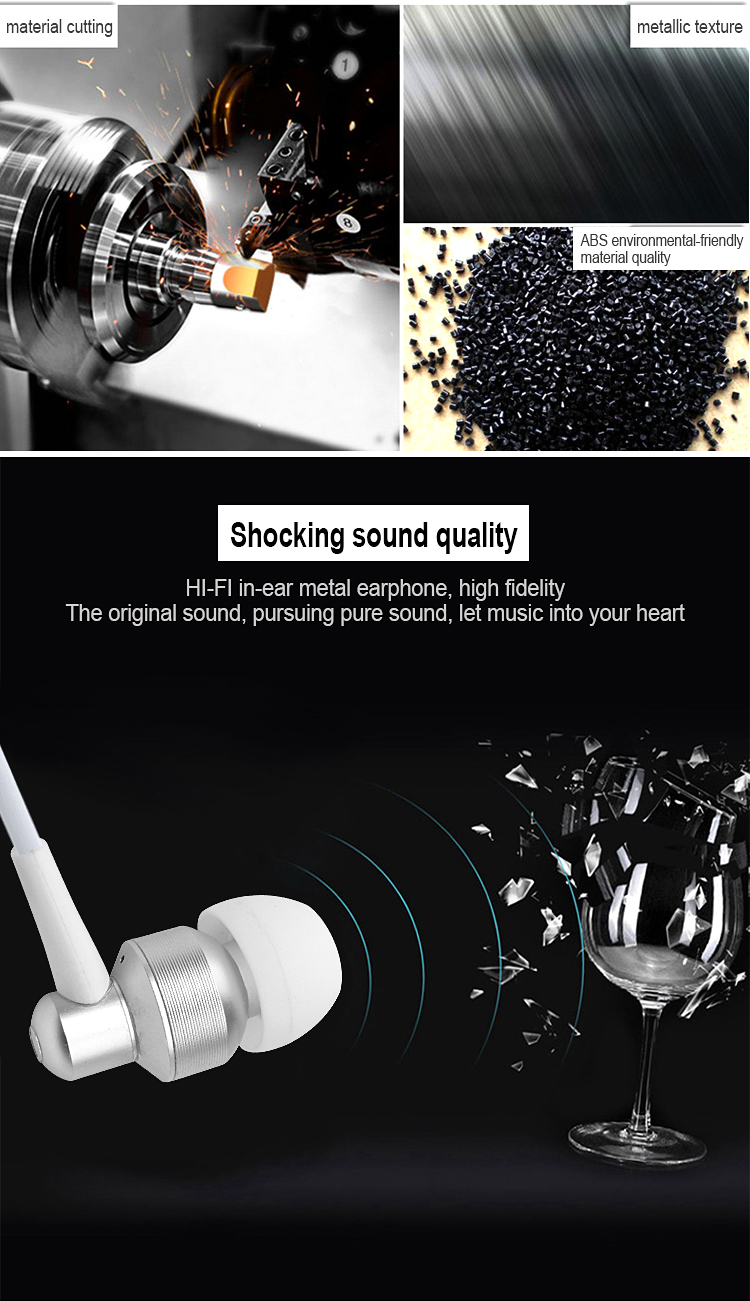 stereo wired metal earphone