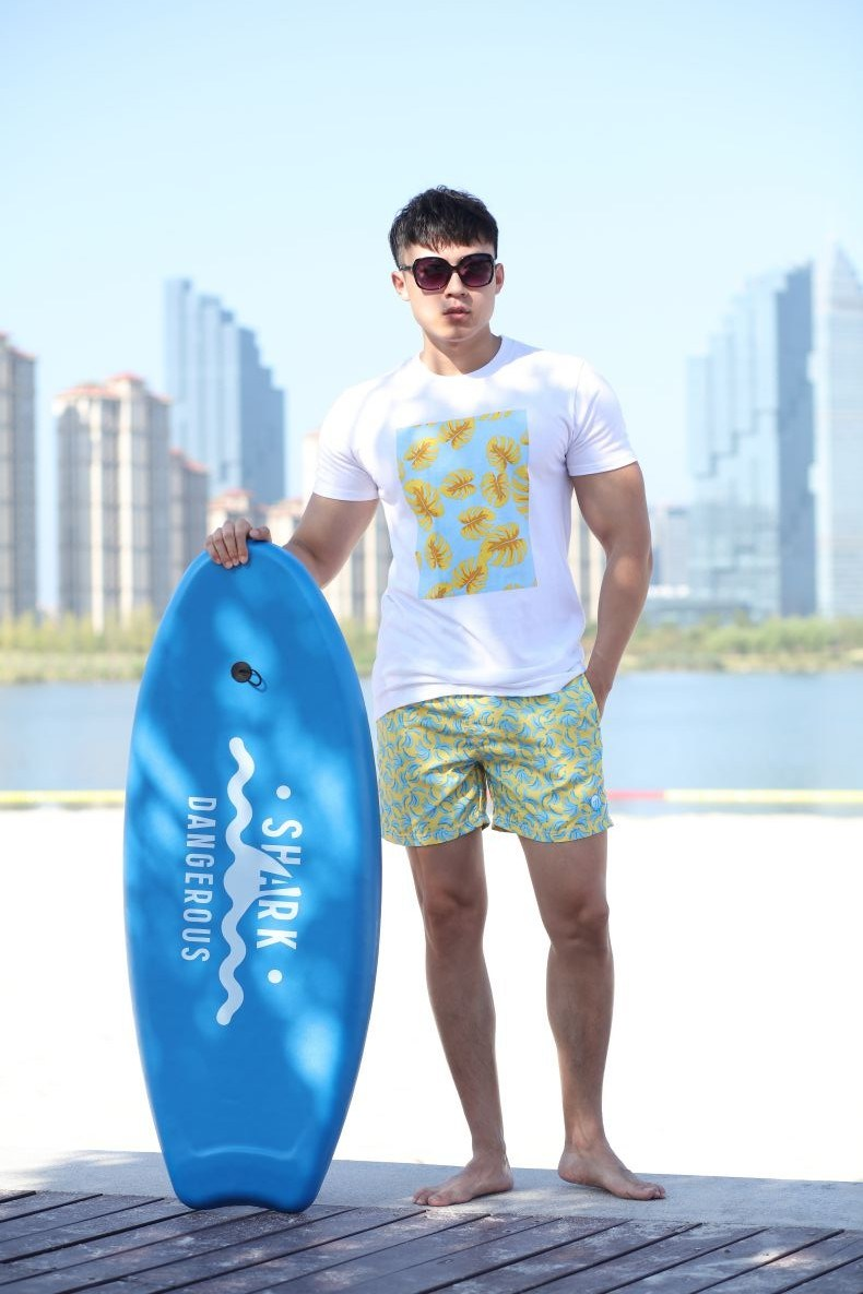 150GSM 100%Cotton T-Shirt with Big Water Print Slim Man's T Shirt
