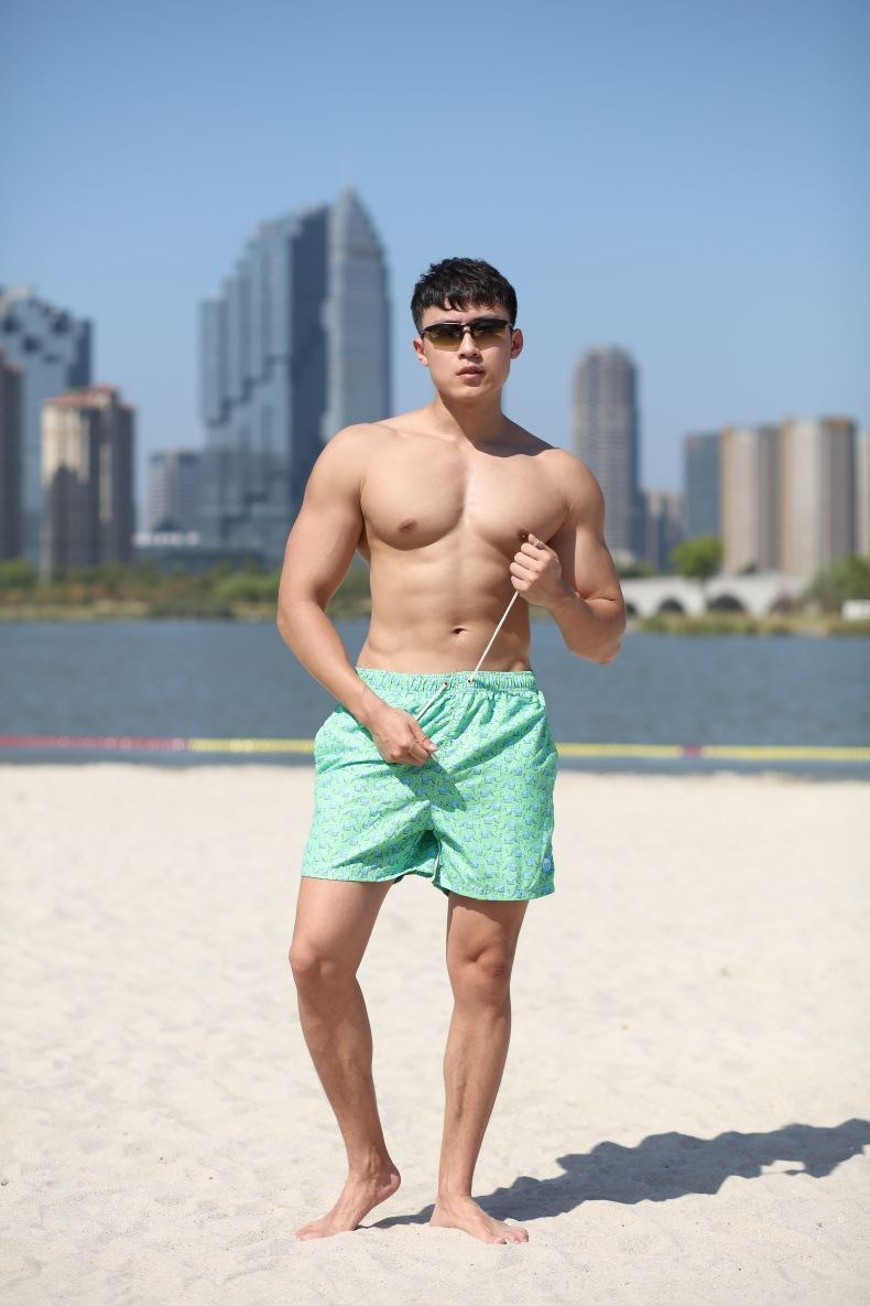110GSM Microfiber Polyester Coating Digital Print Brief Mesh Lining for Swim Quick Dry Water Repellent Man's Swimming Short