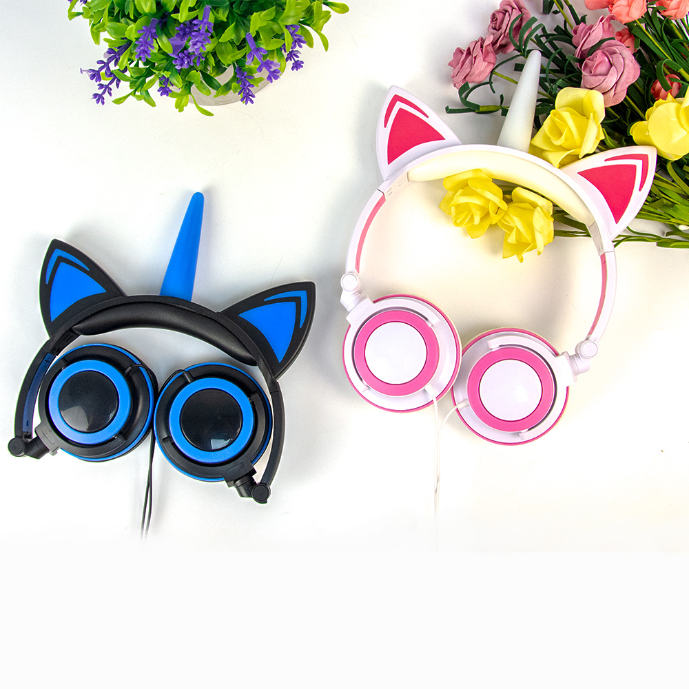 Unicorn Cat Ear Headphones with different color