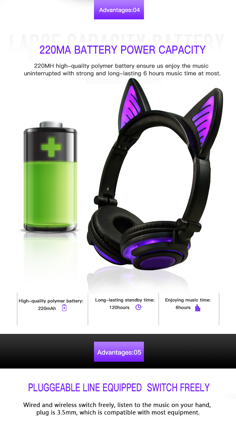High quality cat ear headphone