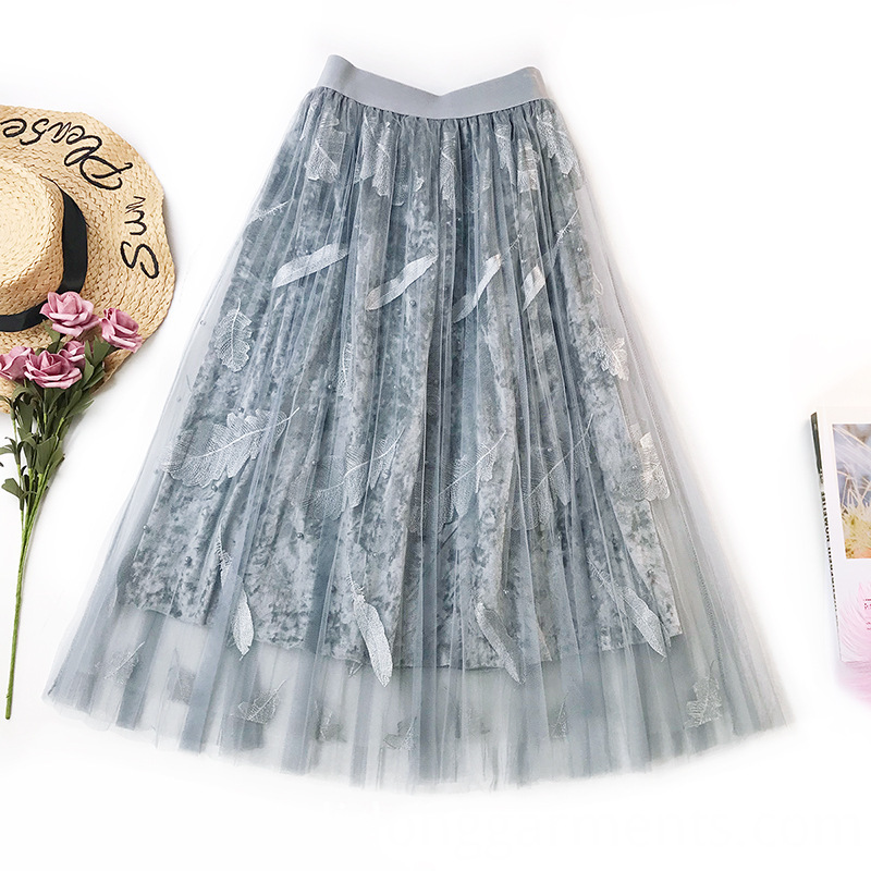 Women Polyester Velvet Skirts
