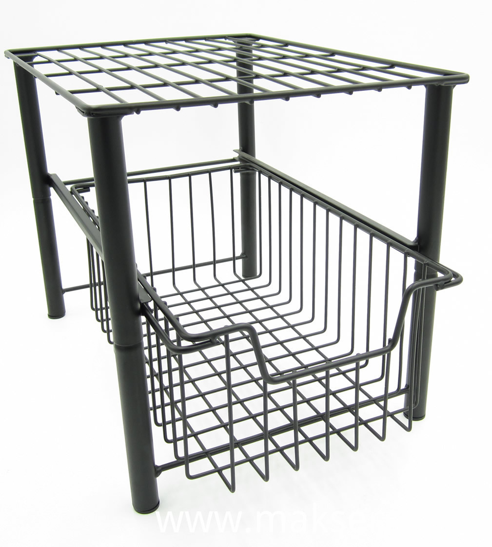 2 Tier Stackable Storage Rack Under Sink Cabinet Caddy Organizer with Sliding Storage Drawer for Kitchen Bathroom Office