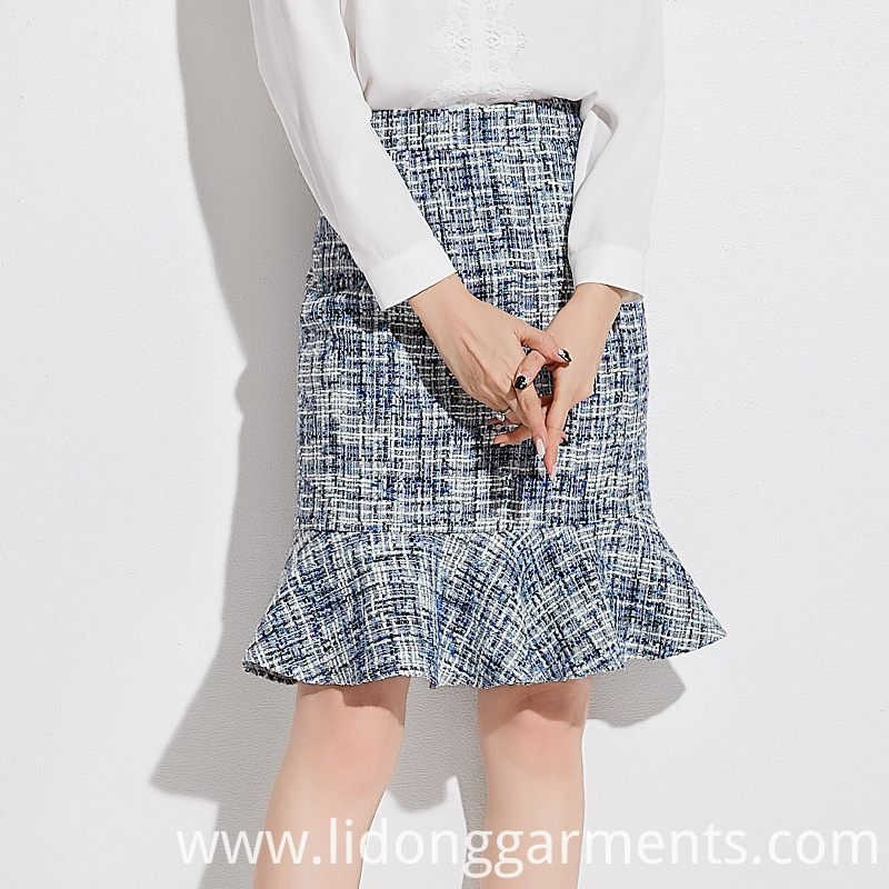 Tweed Fabric Office Wear Skirts