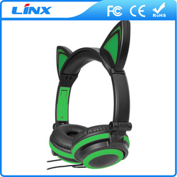 cat ear colorful stereo headphones for mp3