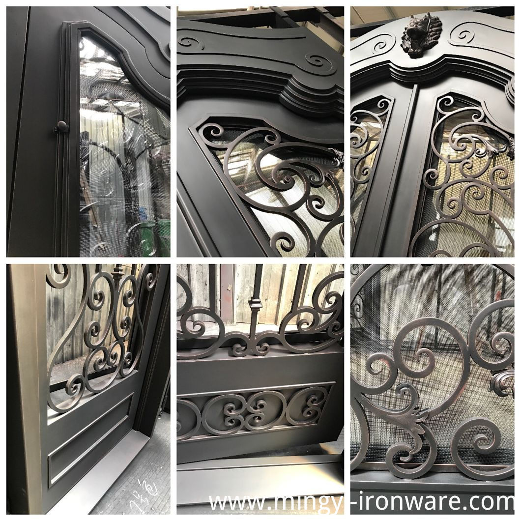 Forged Custom Exterior Door Wrought Iron Double Entry Doors