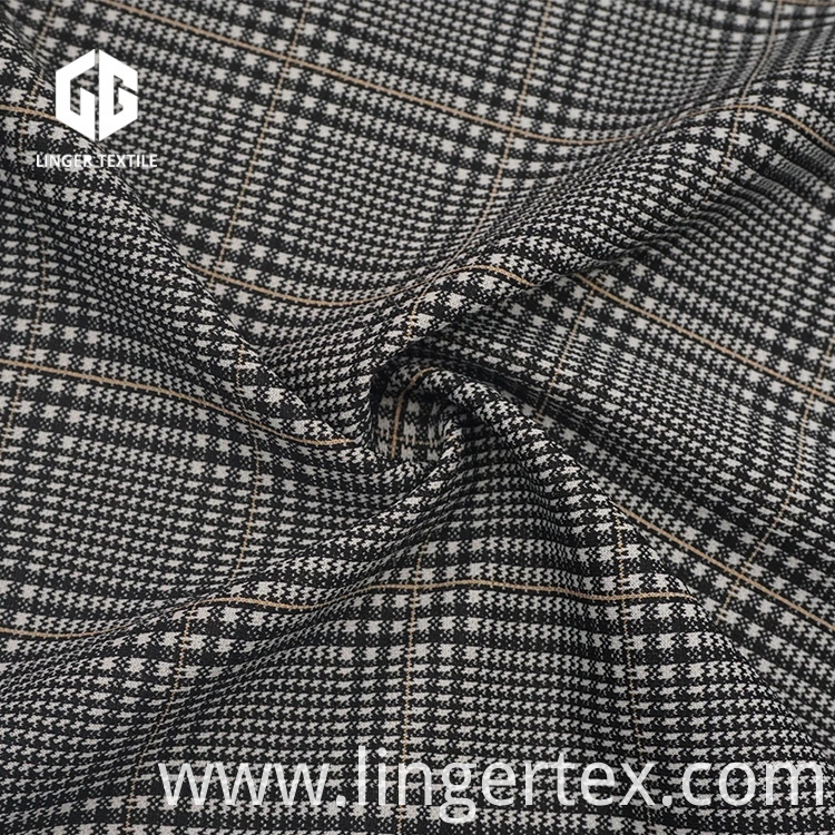 Tr Yarn-Dyed Jacquard Elastane Fabric with Check Pattern