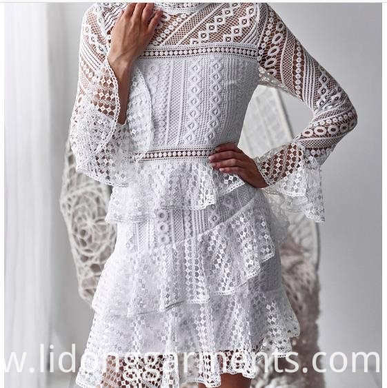 Lace Embroidery Mesh Casual Dress