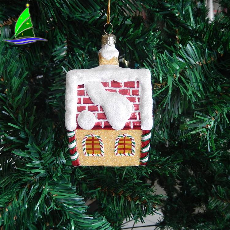 Hanging Tree House Glass Ornament
