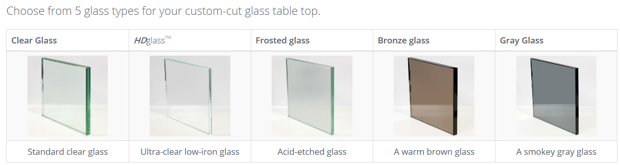 Table Top Glass Color