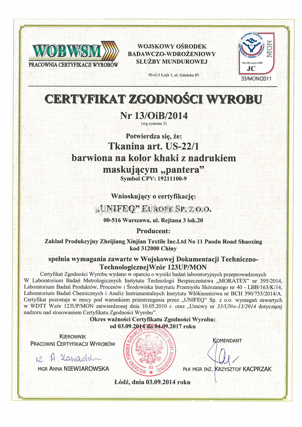 Certification From Poland Army