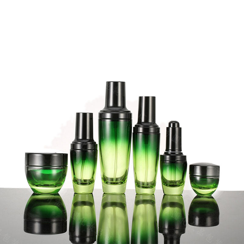 Round clear green cosmetics electroplating glass bottle jars