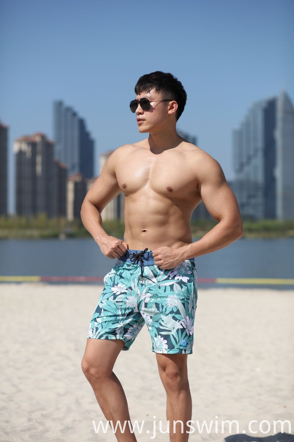 4way Stretch Fabric 160GSM Digital Print Fitted Waistband Quick Dry Man's Swimming Short Boardshort