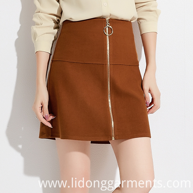 Solid Color Zipper Skirt