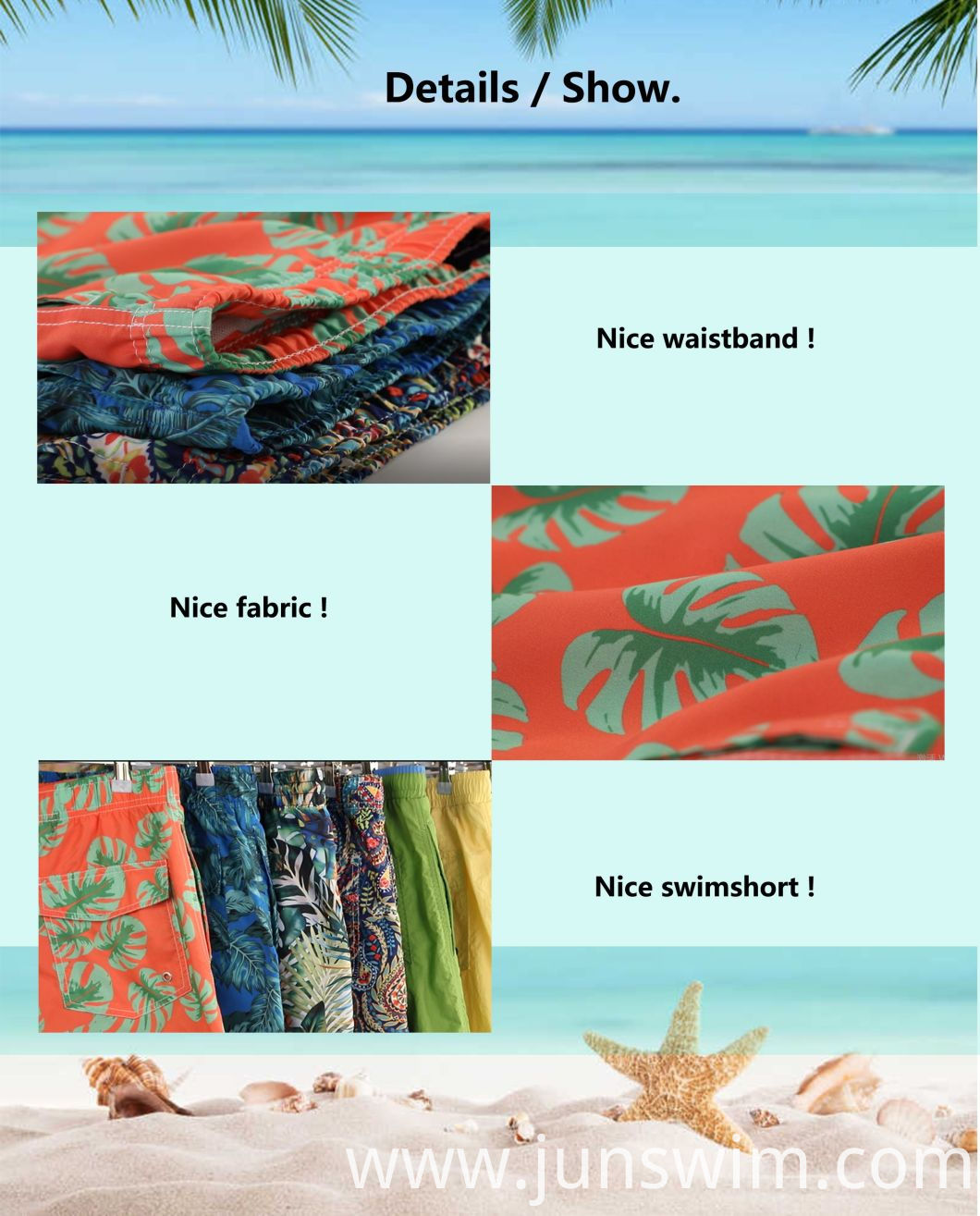 100%Polyester Digital Print Full Elastic Waistband for Swim Quick Dry Water Repellent Fashion Man's Swimming Short
