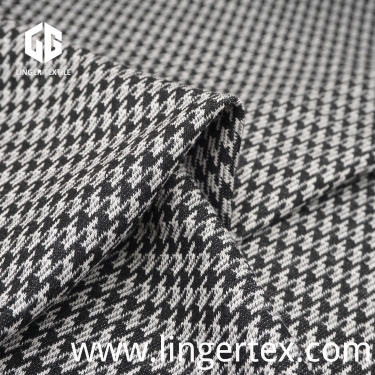 Cotton Nylon Polyester Houndstooth Jacquard Fabric for Knit Clothes