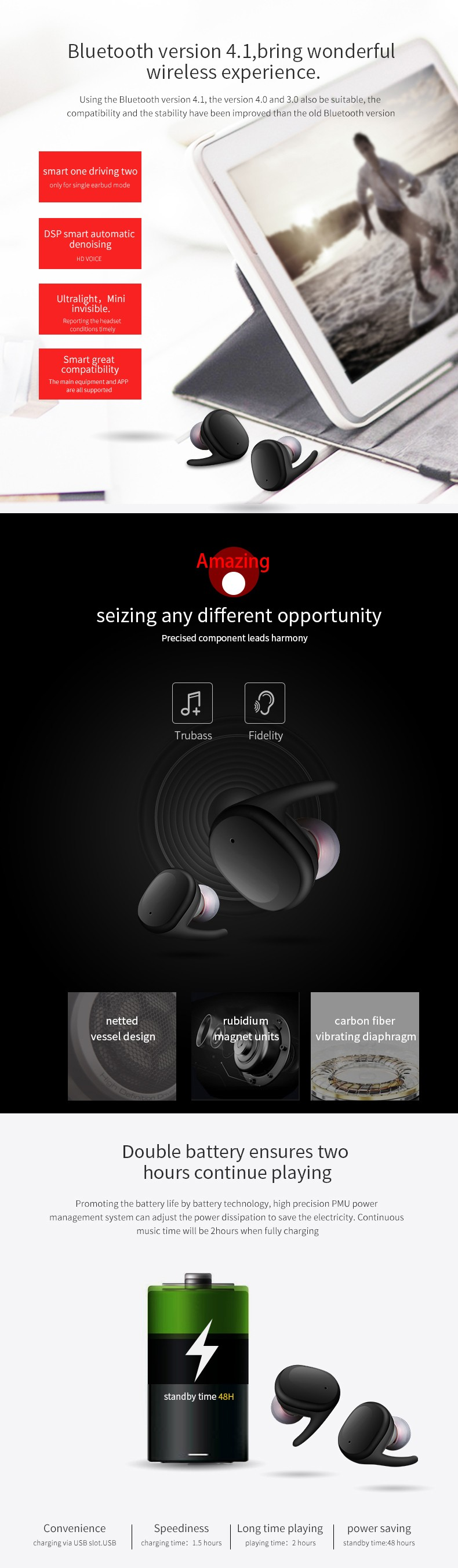 Good sounds wireless earphone