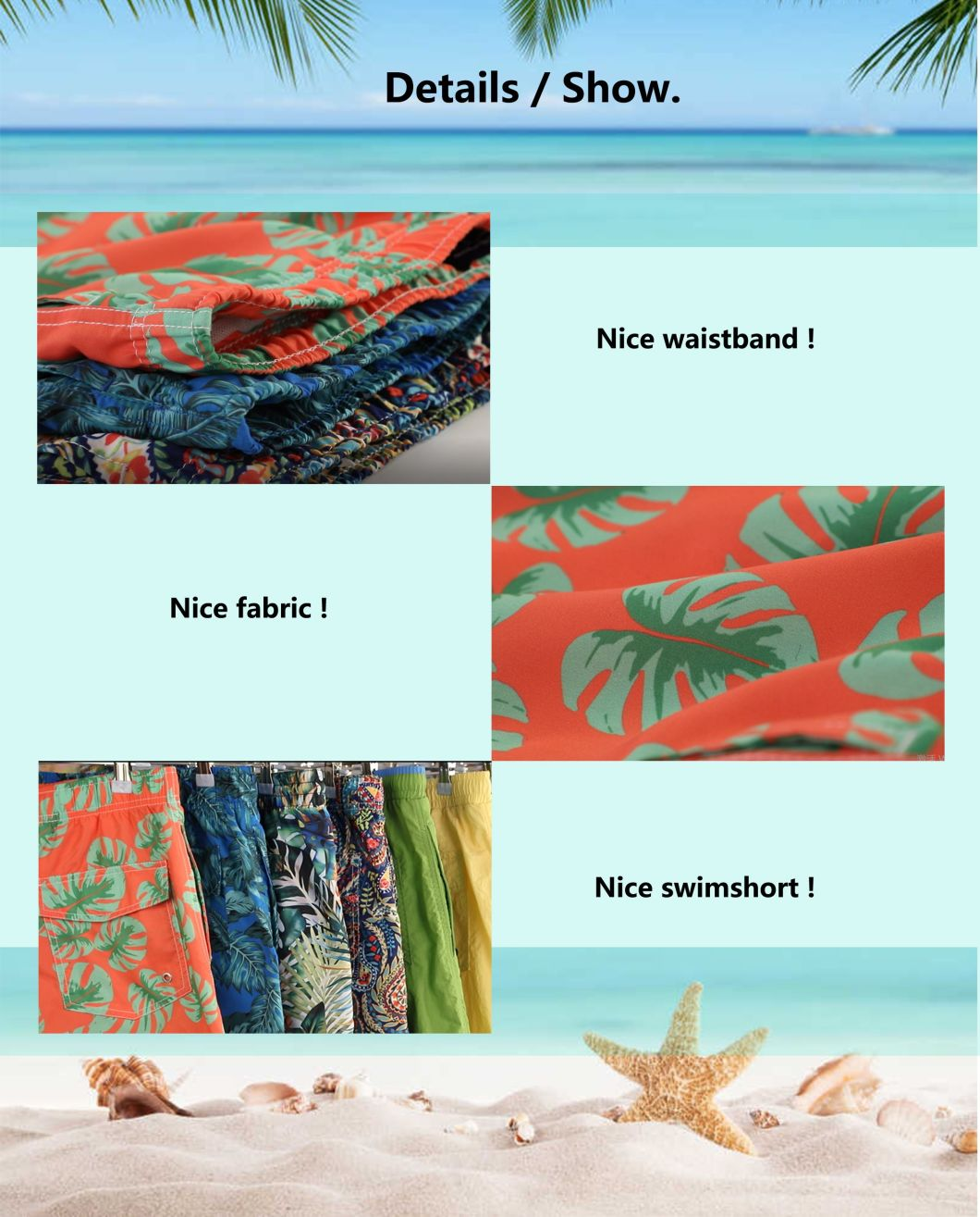 120g Polyester Coating Digital Print Brief Mesh Lining for Swim Quick Dry Water Repellent Man's Swimming Short