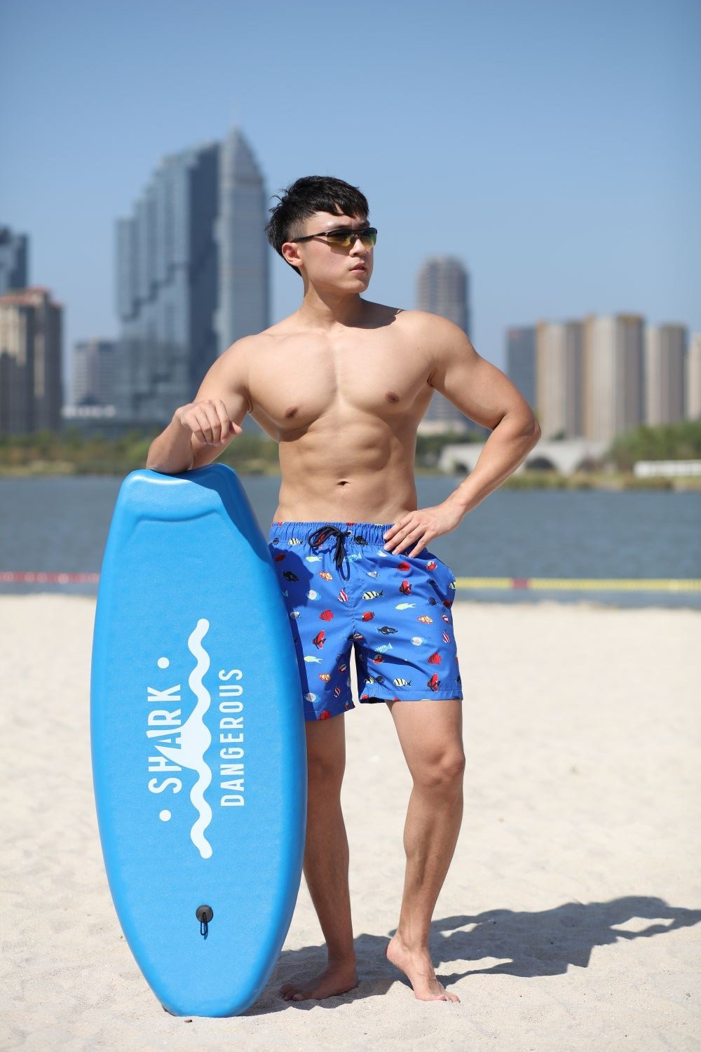 140GSM 100% Polyester Digital Print Quick Dry Full Elastic Waist Brief Lining Water Repellent Man's Swim Short