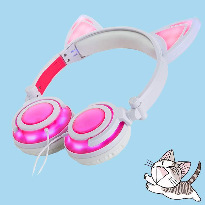 Pink color cat ear headphone