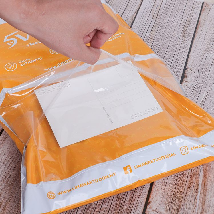 poly mailer with back pocket