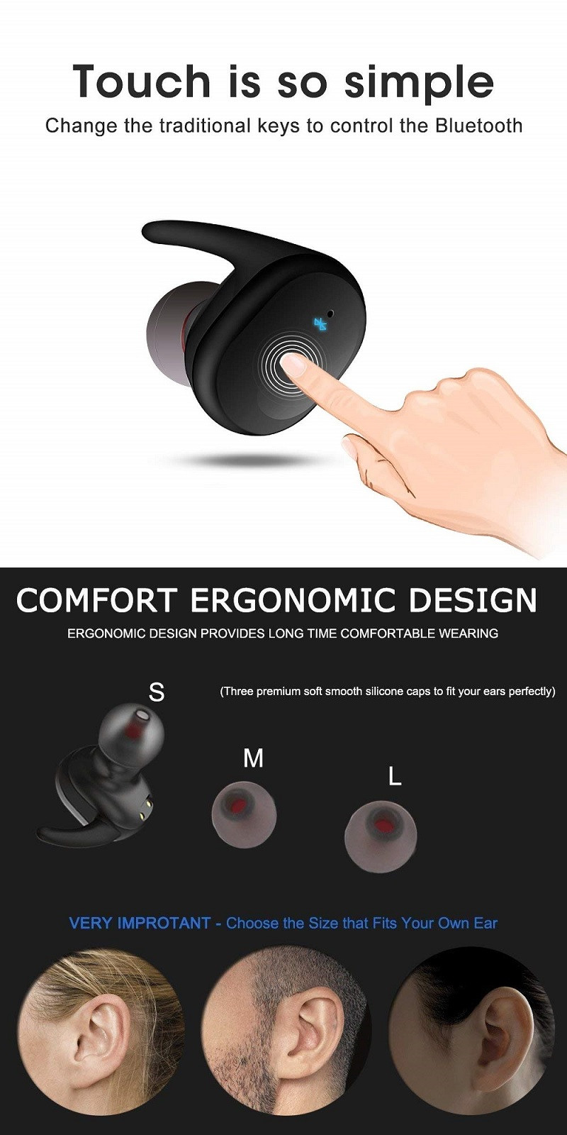 TWS Bluetooth V5.0 Earphone Wireless Waterproof Earbuds