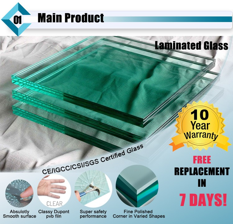 Clear laminated glass
