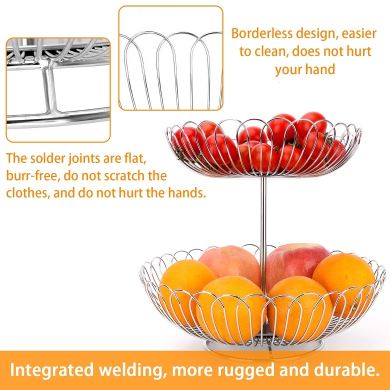 Stainless Steel Creative Fruit Basket for Two Layers of Household Fruit Rack