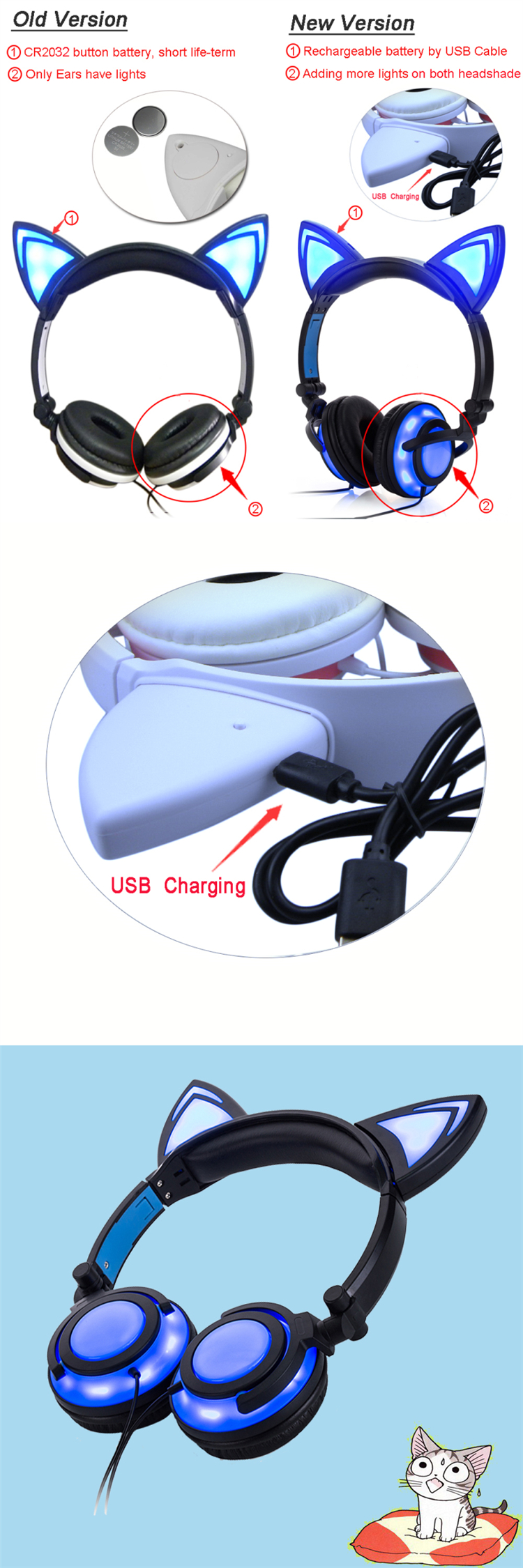 USB charge headphone for kids
