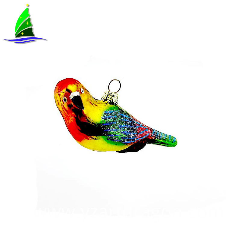 Cute Parrot Hand Blown Glass Figurine